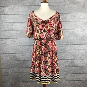 Torrid Diamond/Aztec Print Flutter Sleeve Dress 5